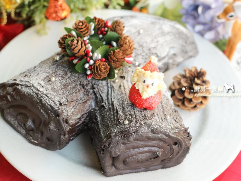 聖誕巧克力樹幹蛋糕