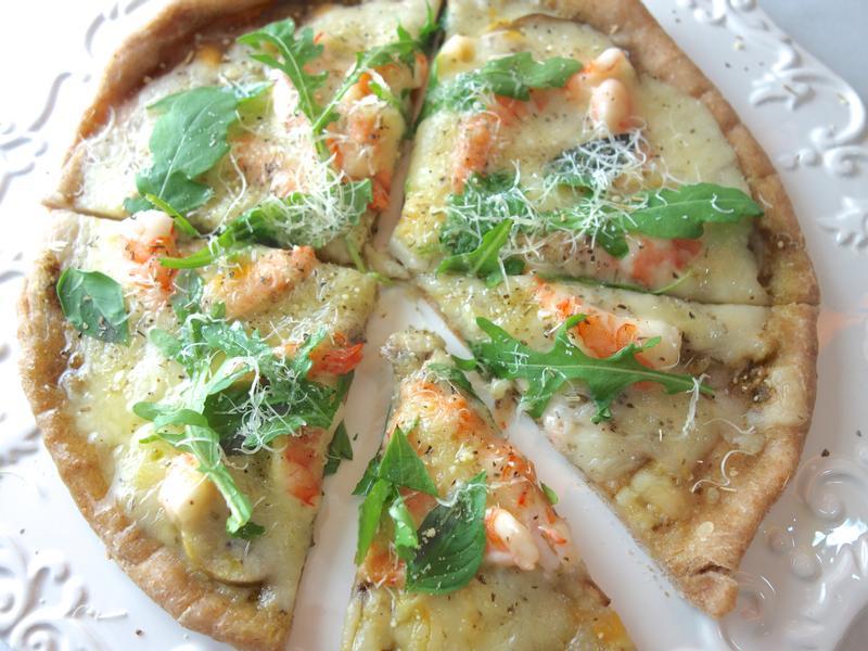 青醬鮮蝦野菇薄脆披薩pizza平底鍋版
