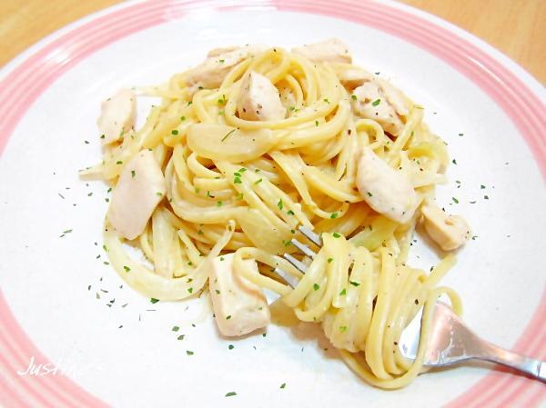 白醬雞肉義大利寬麵+簡易白醬