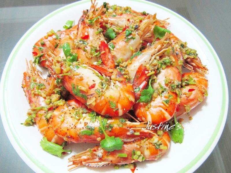 快炒香菜檸汁泰國蝦