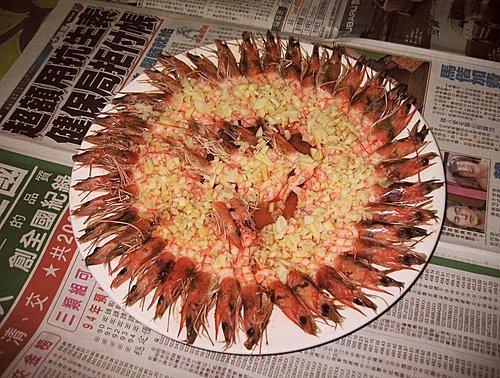 美味的蒜泥烘蝦