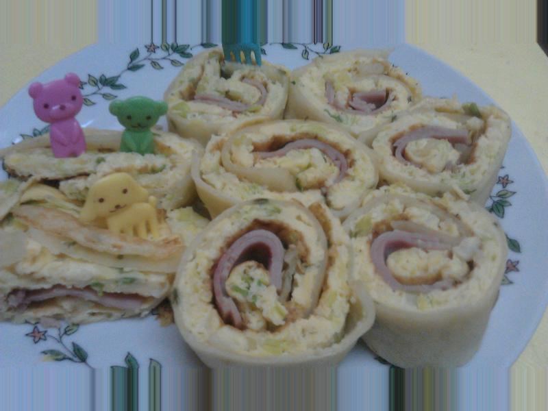 桌上的菜色~香蔥烘蛋餅