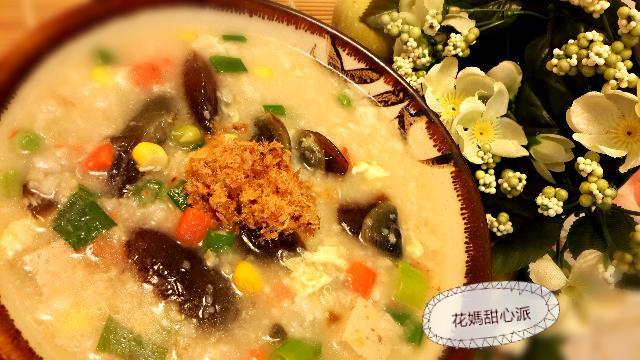 低卡皮蛋糙米蔬菜粥
