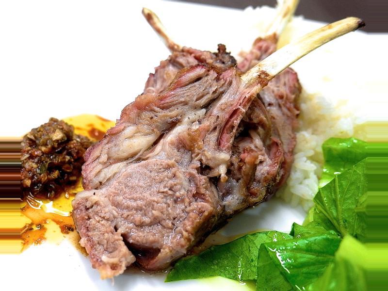 烤羊排 + 奇米趣李醬