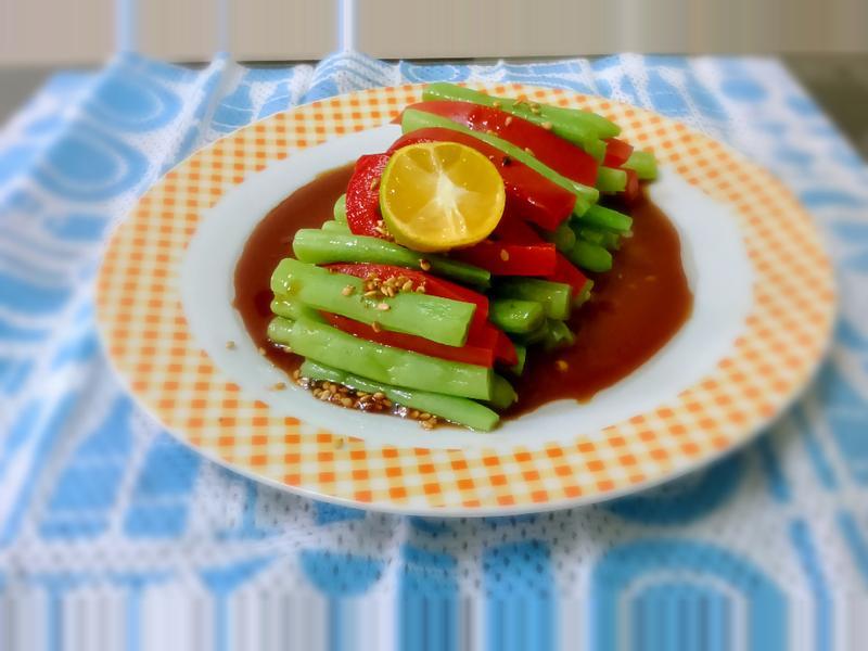 五分鐘完成~蜂蜜桔汁彩椒四季豆