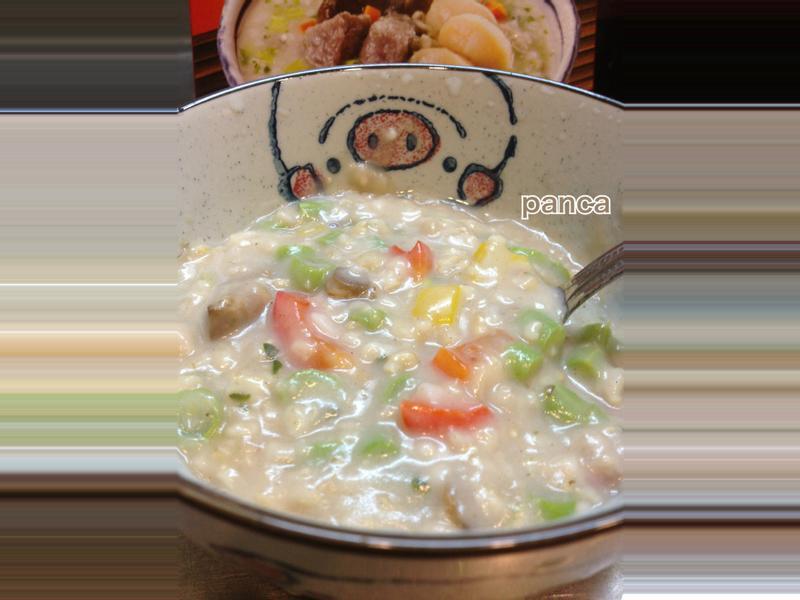 干貝芋頭風味之黃綠紅燕麥粥【鹹粥料理】。胖卡瘦不了食譜