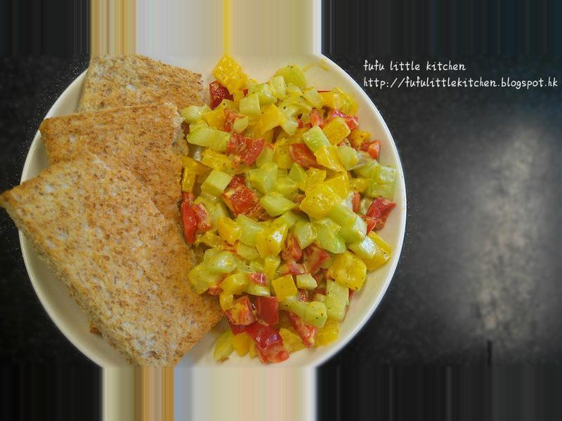 15分鐘營養早餐 - 芝士蔬菜粒配多士