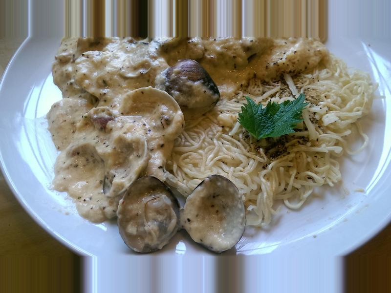 義式蛤蠣燻肉白醬麵煎