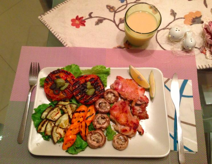 碳烤時蔬+香煎雞腿排【小確幸Angel⭐廚房】