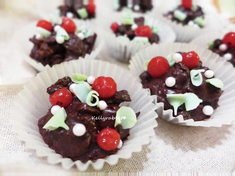 超簡易♥耶誕fu巧克力脆餅