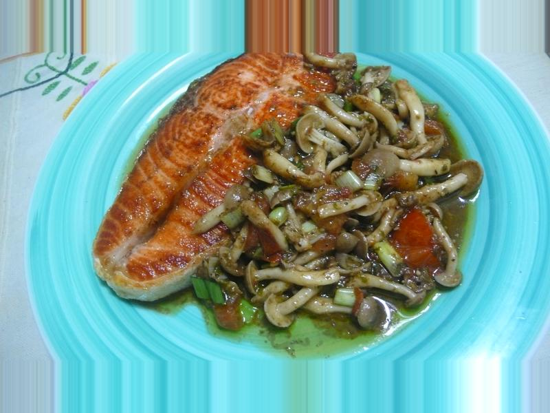 lanni  乾煎鮭魚佐青醬菇