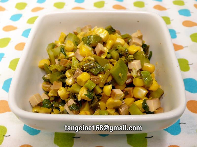 衝菜玉米嗆豆干~3  ♥Q♥ 哇沙米菜