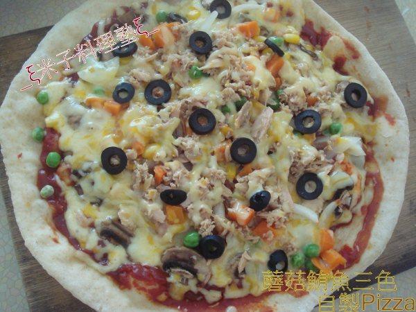 °..ஜ_ξ米子料理塾ξ_ஜ..°蘑菇鮪魚三色自製Pizza