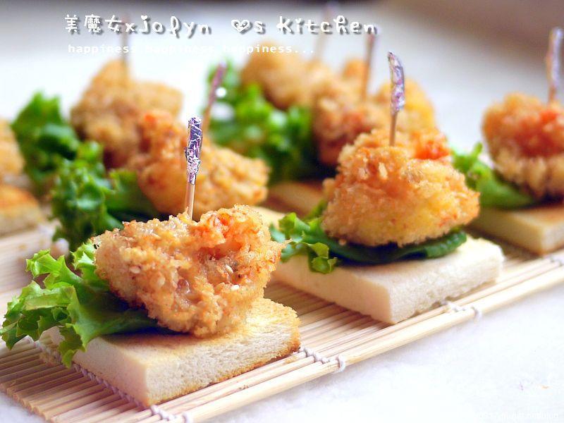 蝦球酥烤土司佐黃芥茉