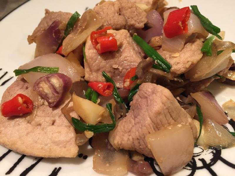 蒜蔥炒豬肉
