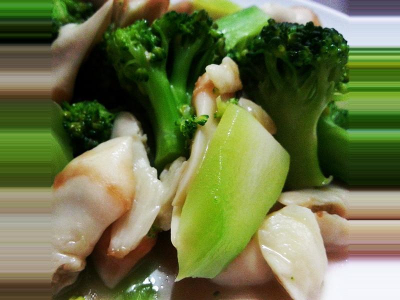 鮑貝拌炒花椰菜