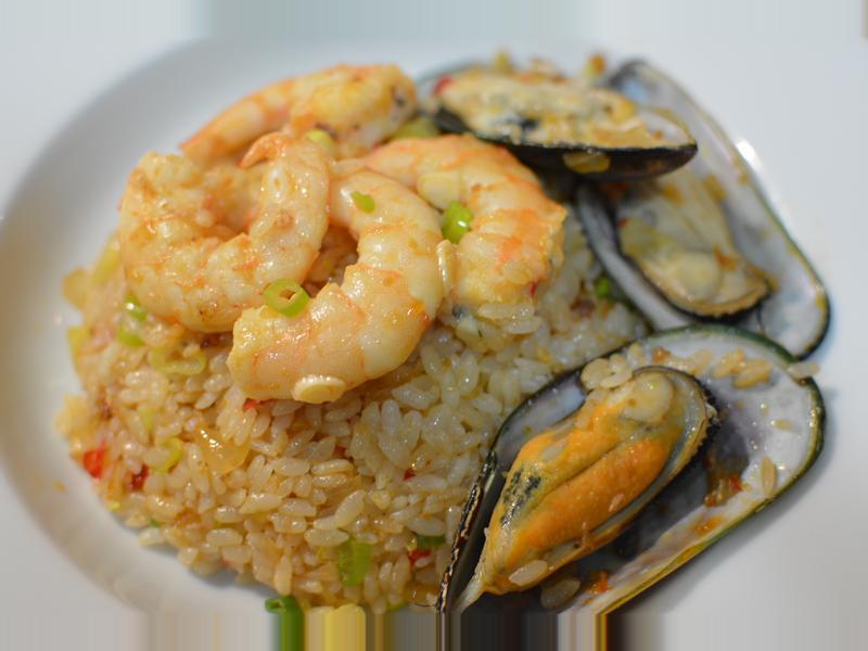 XO干貝醬海鮮炒飯。鮮甜的海滋味