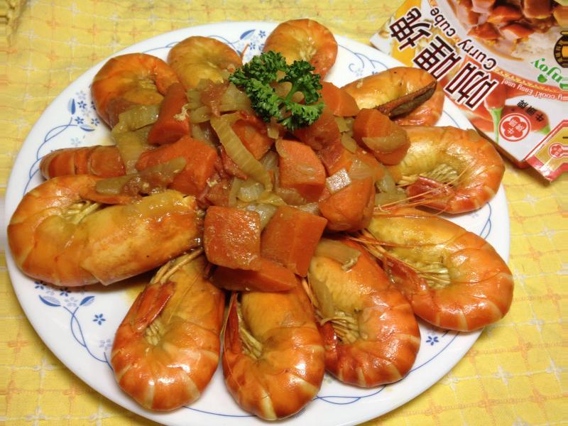[牛頭牌咖哩塊]香辣咖哩泰國蝦