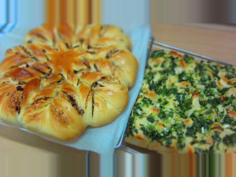 【香蔥麵包】與【花式堅果麵包】