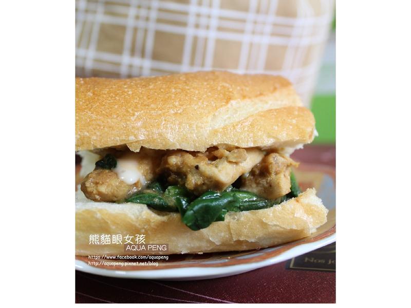 菠菜雞肉咖哩三明治 熊貓眼女孩