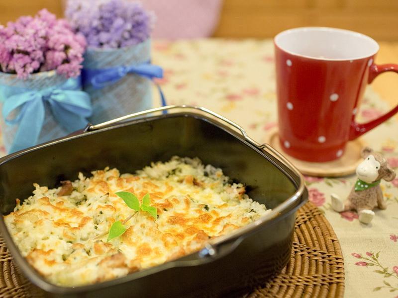 【吳双の愛妻料理】焗烤青醬堅果雞肉燉飯[飛利浦氣炸鍋]