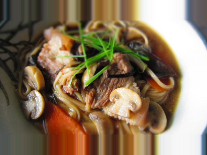 香蔥豬肉洋菇煨麵