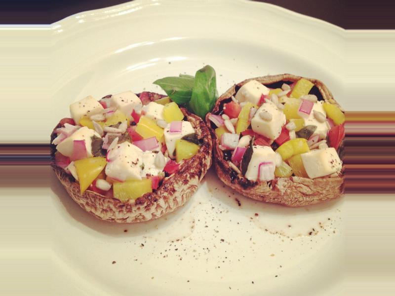 蔬菜豆腐鑲蘑菇。新素食 by Miss V.