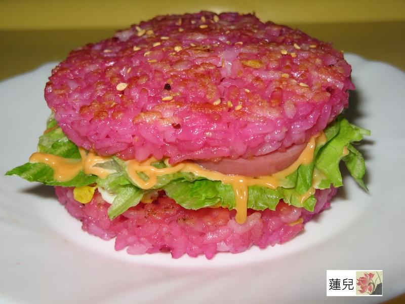 甜菜根泥米漢堡