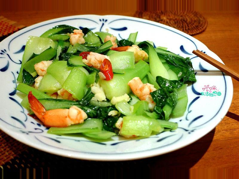 鮮蝦炒青江菜