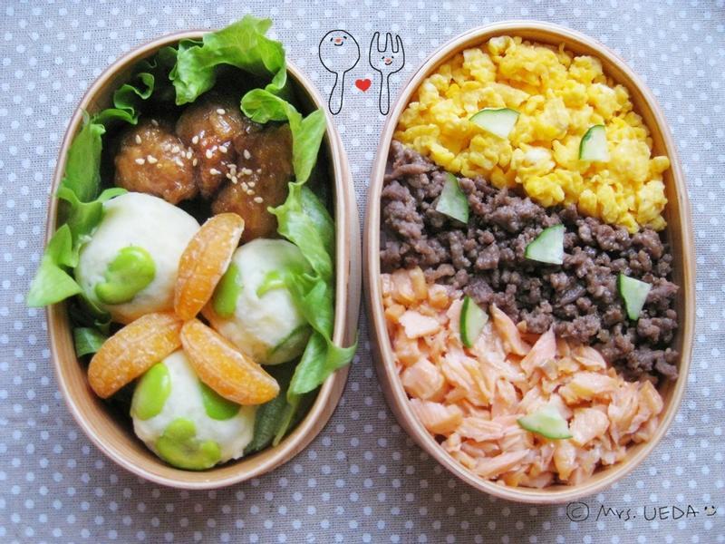 日式奶香三色丼便當(上田太太愛料理)