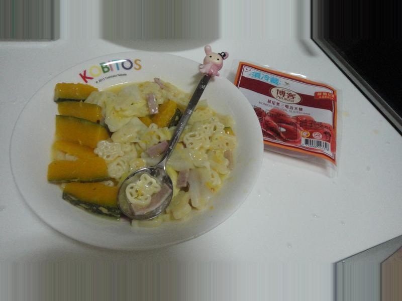 奶油火腿義大利卡通麵(博客原味切片火腿)
